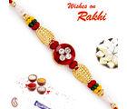 Aapno Rajasthan Aapno Rajasthan Solid Golden Beads & AD Studded Rakhi, only rakhi with 200 gms kaju katli