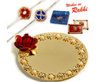 Aapno Rajasthan Beautiful Crystal Stone Studded Metallic Rakhi Pooja Thali with Set of 2 Rakhis, only rakhi