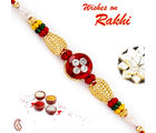 Aapno Rajasthan Solid Golden Beads & AD Studded Rakhi, only rakhi