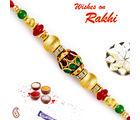 Aapno Rajasthan Aapno Rajasthan Golden Round Beads & AD Studded Rakhi, only rakhi with 200 gms kaju katli