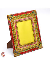 Aapno Rajasthan Clay And Wood Photo Frame With Hand Painted Work (WUDCLY1429)