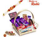 Aapno Rajasthan Golden Gift Basket With Rakhi & Chocolate Rakhi Hampers