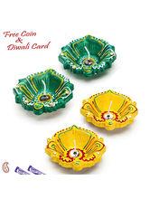 Aapno Rajasthan Decorated Four Baati Diya In Hues Of Green & Yellow