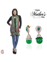 Aapno Rajasthan Set Of Stylish Earrings And Dual Shade Dupatta For Mother's Day