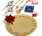 Aapno Rajasthan Beautiful Crystal Stone Studded Metallic Rakhi Pooja Thali with Family Rakhi Set, only rakhi