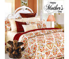 Aapno Rajasthan Elegant Off White & Maroon Cotton Double Bedsheet with Floral Print for Mother's Day
