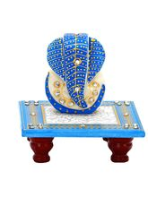 Aapno Rajasthan Stone Studded Lord Ganesh In Blue On Marble Chowki (MAR15308)