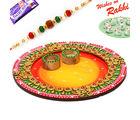 Aapno Rajasthan Lovely Shades Round Rakhi Pooja Thali with 1 Charming Rakhi, rakhi with 200 grams sweets