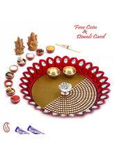 Aapno Rajasthan Kundan Studded Red & Gold Pooja Th...