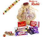 Aapno Rajasthan Golden Net Basket With Rakhi & Chocolates Rakhi Hampers