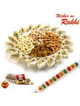 Aapno Rajasthan Floral Shape Gold Finish Dry Fruits Tray With Rakhi Hamper