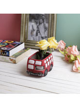 Tayhaa Vintage Red Bus Style 6.5 CM Planter Pot (CH1638), red and white