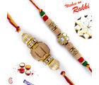 Aapno Rajasthan Set of 2 Beautiful & Elegant Sandalwood Rakhi, only rakhi