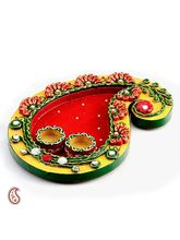 Aapno Rajasthan Keri Design Wood And Clay Work Pooja Thali (WUDCLY1256)