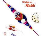 Aapno Rajasthan Aapno Rajasthan Blue & Pink Beads Studded Zardsoi Rakhi, only rakhi with 200 gms kaju katli