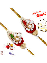 Aapno Rajasthan Set Of 2 Zardosi Rakhi With Kundan...