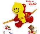 Aapno Rajasthan Red & Yellow Sweet Smiley Rakhi For Kids, only rakhi