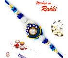 Aapno Rajasthan Aapno Rajasthan AD Studded Beautiful Blue Base Zardsoi Rakhi, only rakhi