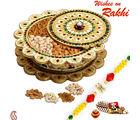 Aapno Rajasthan Floral Shape Dryfruit Box With Rakhi