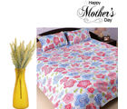 Aapno Rajasthan Combo Of Printed Bedsheet And Yellow Artificial Flowers