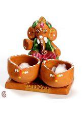 Aapno Rajasthan Deep Brown Shade Ganesha With Twin Diya Set (GT1212)