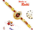 Aapno Rajasthan Aapno Rajasthan Maroon & Golden Beads Studded Lord Motif Rakhi, only rakhi