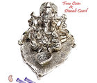 Aapno Rajasthan Silver Finish Metal Ganesh With Diya