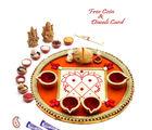 Aapno Rajasthan Orange Base Designer Pooja Thali With Diyas