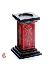 Aapno Rajasthan Black And Red Hand Painted Candle Holder (WUD1252)