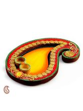 Aapno Rajasthan Yellow And Red Keri Design Wood Clay Pooja Thali (WUDCLY1257)