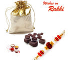Aapno Rajasthan Golden Pouch With Home Made Chocolates Rakhi Hampers And Rakhi
