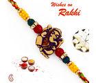 Aapno Rajasthan Ganesh Motif Mauli Rakhi with Colorful Beads, only rakhi
