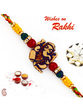 Aapno Rajasthan Ganesh Motif Mauli Rakhi with Colorful Beads, only rakhi