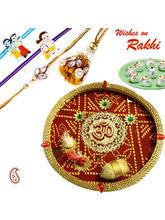 Aapno Rajasthan Golden Lace Bandhni Rakhi Pooja Th...