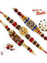 Aapno Rajasthan Set Of 3 Colorful Beads Studded Divine Rakhi, only rakhi