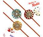 Aapno Rajasthan Set of 3 Beautiful crystal work Rakhi, only rakhi