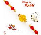 Aapno Rajasthan Yellow & Red Crystal Beads Thread Rakhi, only rakhi