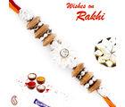 Aapno Rajasthan White Floral Motif Sandalwood Rakhi, only rakhi