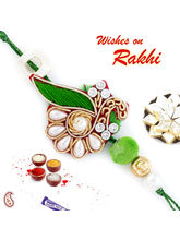 Aapno Rajasthan White Pearl Studded Green Zardosi ...
