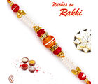 Aapno Rajasthan Orange & Red Beads Studded Pearl Rakhi, only rakhi