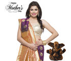 Aapno Rajasthan Violet, Orange, and Gold exquisite Silk Saree for Mother's Day