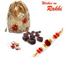 Aapno Rajasthan Multicolor Pouch With Home Made Chocolates Rakhi Hampers And Rakhi