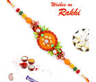 Aapno Rajasthan Orange Flower & Green Leaves Beautiful Rakhi, only rakhi