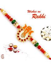 Aapno Rajasthan Red & Green Beads Studded Ganesha Motif Rakhi, only rakhi