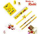 Aapno Rajasthan Cute Pikachu Pouch Box & Rakhi Kids Hamper