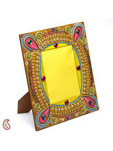 Aapno Rajasthan Beautiful Wooden Photo Frame With Delicate Clay Work (WUDCLY1428)