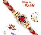Aapno Rajasthan Red & Gold Round Motif Fancy Rakhi, only rakhi