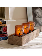 Aapno Rajasthan Elegant Brown Tealight Holders With Stylish Tray (TLT1509)