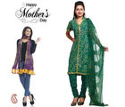 Aapno Rajasthan Combo Of Green Suit And Dual Shade Dupatta For Mother's Day