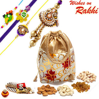 Aapno Rajasthan Golden Pouch With Rakhi & Dryfruit Hamper